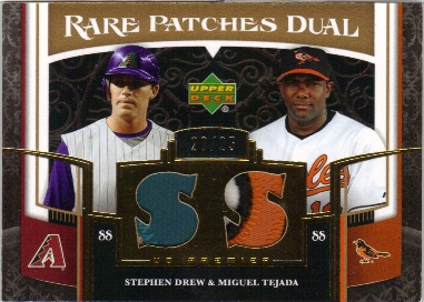 2007 Upper Deck Premier Rare Patches Dual Gold #DT Stephen Drew/Miguel Tejada