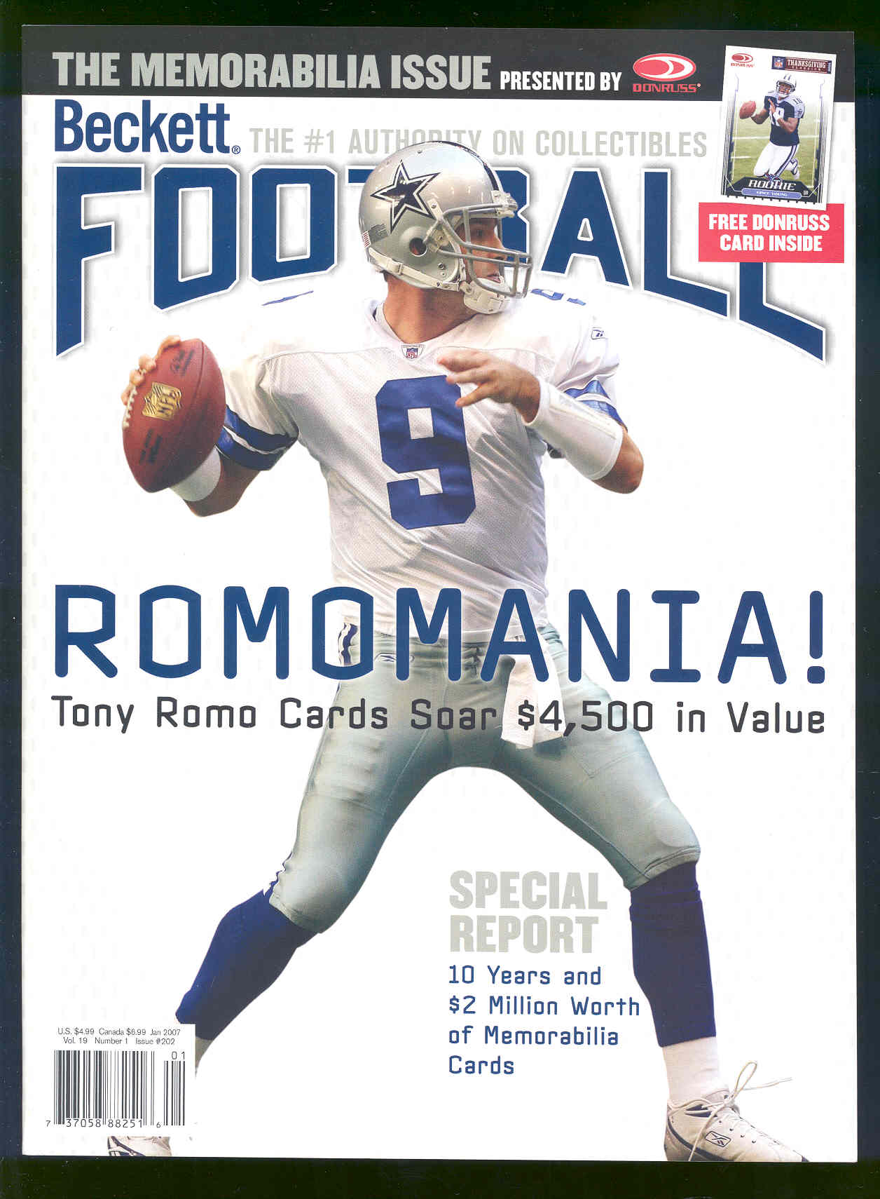 January 2007 RARE Back Issue Beckett Football Tony Romo Cowboys Rookie Issue #202 Including a special issue Donruss Thanksgiving Classics Reggie Bush Saints #1 Rookie Card Inside