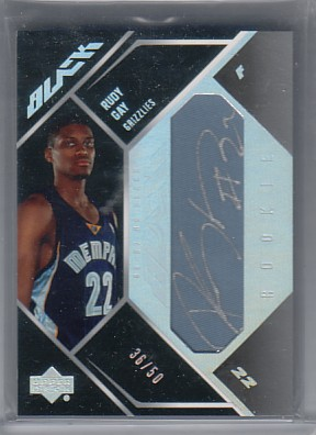 2006-07 UD Black Autographs Rookie Materials #RG Rudy Gay