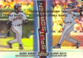 1999 Finest Split Screen Dual Refractors #SS4 Barry Bonds/Albert Belle