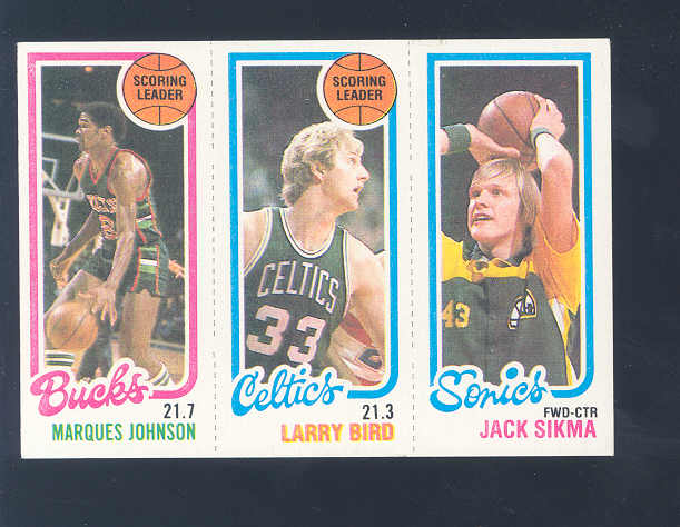 1980-81 Topps #48 143 Marques Johnson TL/30 Larry Bird TL/232 Jack Sikma front image