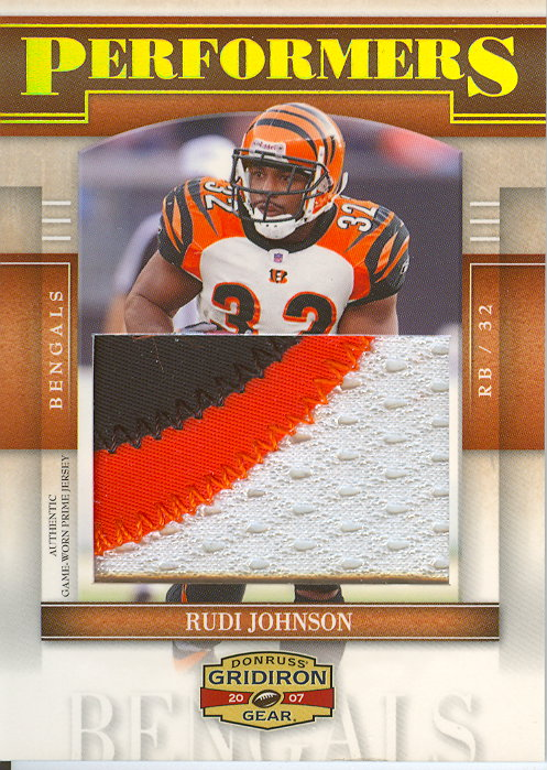 2007 Donruss Gridiron Gear Performers Jerseys Jumbo Swatch Prime #47 Rudi Johnson/25