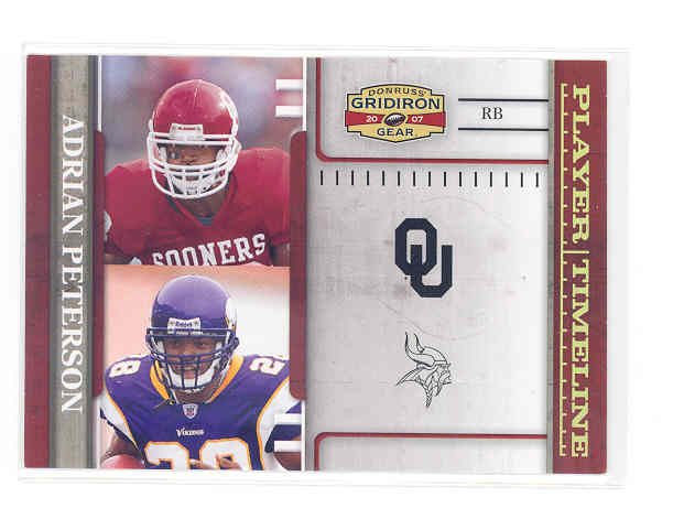 2007 Donruss Gridiron Gear Player Timeline Gold Holofoil #15 Adrian Peterson