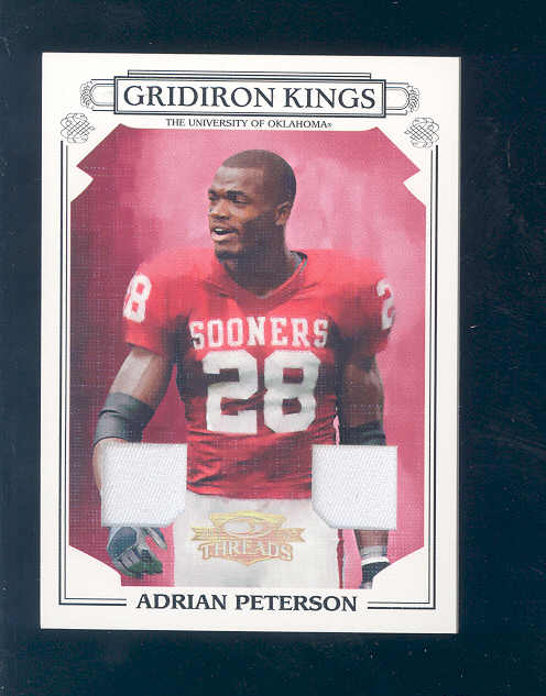 2007 Donruss Threads College Gridiron Kings Materials Prime #11 Adrian Peterson