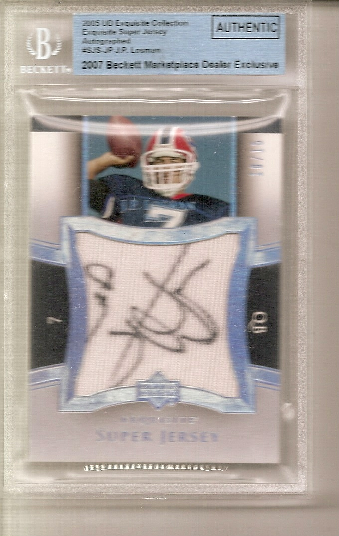 2005 Exquisite Collection Super Jersey Autographs #SJSJP J.P. Losman front image