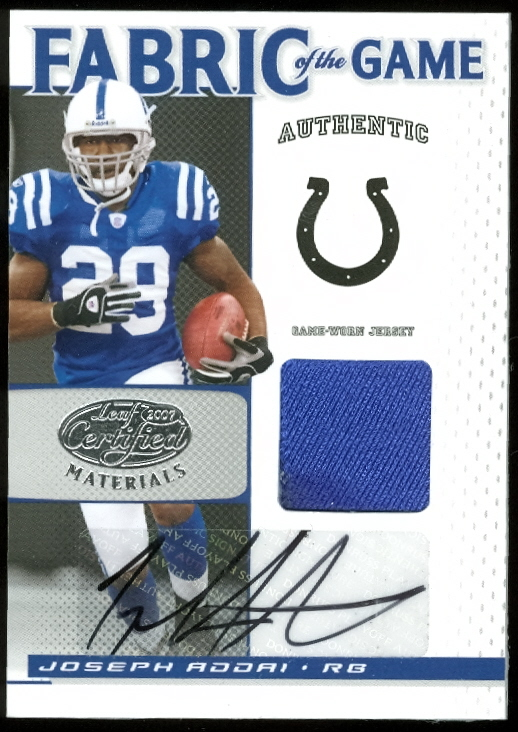 2007 Leaf Certified Materials Fabric of the Game Autographs #50 Joseph Addai/5