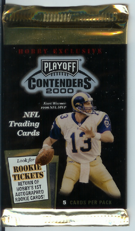 1 SEALED PACK : 2000 Playoff Contenders Football Factory Sealed Hobby Pack (Possible Tom Brady Autographed Rookie Card - His only true Autographed Rookie Card)