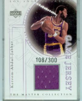 2000 Upper Deck Lakers Master Collection Game Jerseys #KAJ Kareem Abdul-Jabbar