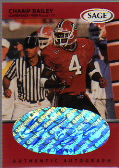 1999 SAGE Autographs Red #A3 Champ Bailey/999