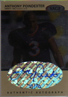 1999 SAGE Autographs Platinum #A41 Anthony Poindexter/50
