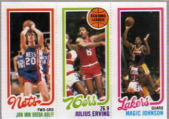 1980-81 Topps #146 162 Jan Van Breda Kolff/174 Julius Erving TL/139 Magic Johnson