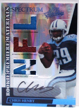 2007 Absolute Memorabilia Rookie Premiere Materials Autographs Spectrum Platinum #270 Chris Henry