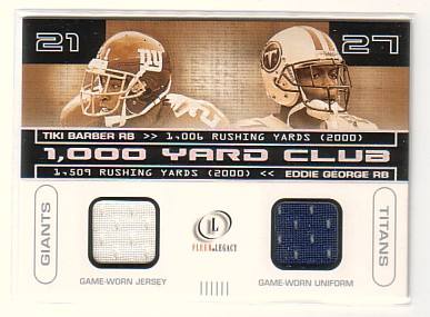 2001 Fleer Legacy 1000 Yard Club Dual Jerseys #TBEG Tiki Barber/Eddie George