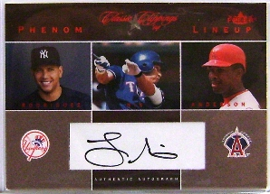 2004 Classic Clippings Phenom Lineup Autograph Red #LN L.Nix w/A.Rod-Garret
