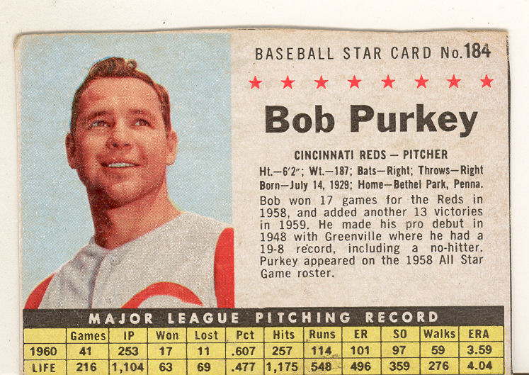 1961 Post #184B Bob Purkey BOX