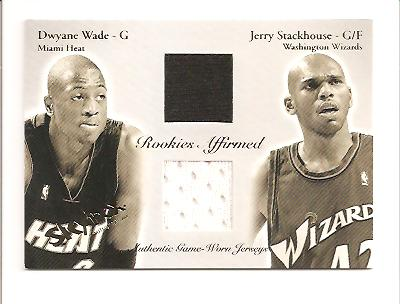 2003-04 SkyBox Autographics Rookies Affirmed Game-Used #DWRL Dwyane Wade/Jerry Stackhouse