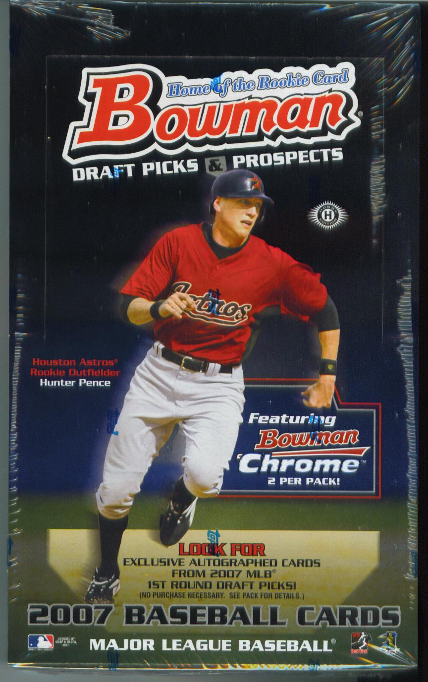 2007 BOWMAN DRAFT PICKS & PROSPECTS HOBBY BOX - 2 Bowman Chrome Cards Per Pack / 1 Autographed Card & 1 Alex Rodriguez Pack per Box on average