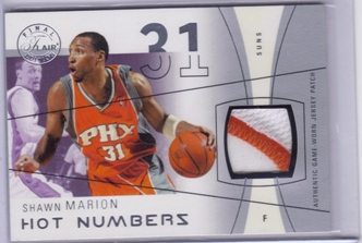 2003-04 Flair Final Edition Hot Numbers Patches Platinum #SHM Shawn Marion/29