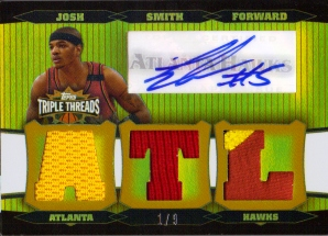 2006-07 Topps Triple Threads Relics Autographs Gold #74 Josh Smith ATL