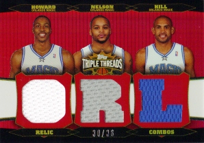 2006-07 Topps Triple Threads Relics Combos #26 Dwight Howard/Jameer Nelson/Grant Hill