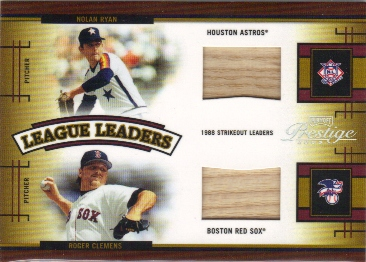 2005 Playoff Prestige League Leaders Double Material Bat #4 Nolan Ryan/Roger Clemens