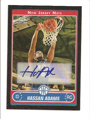 2006-07 Topps Chrome Autographs Refractors Black #203 Hassan Adams F