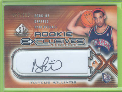 2006-07 SP Game Used Rookie Exclusive Autographs #MW Marcus Williams