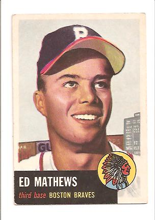 1953 Topps #37 Eddie Mathews DP front image