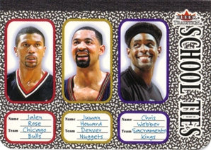 2002-03 Fleer Tradition School Ties #ST8 Jalen Rose/Juwan Howard/Chris Webber