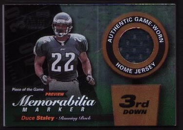 2000 Leaf Limited Piece of the Game Previews 3rd Down #DS22-G, Duce Staley /300