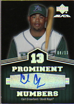 2007 UD Black Prominent Numbers Autographs #CC Carl Crawford/13