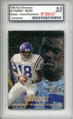 1998 Flair Showcase Row 1 #5 Randy Moss Parallel RC Graded Pro Mint+ 9.5