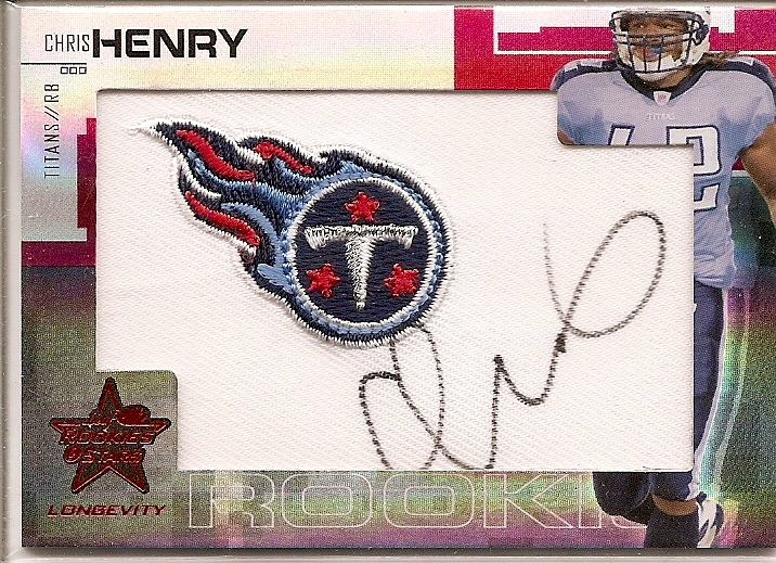 2007 Leaf Rookies and Stars Longevity Rookie Jerseys Jumbo Swatch Ruby #203 Chris Henry RB