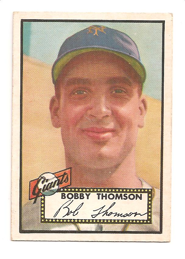 1952 Topps #313 Bobby Thomson DP/Stitching on back number circle points left