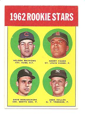 1963 Topps #54A Rookie Stars 1962/Nelson Mathews/Harry Fanok/Jack Cullen/Dave DeBusschere RC
