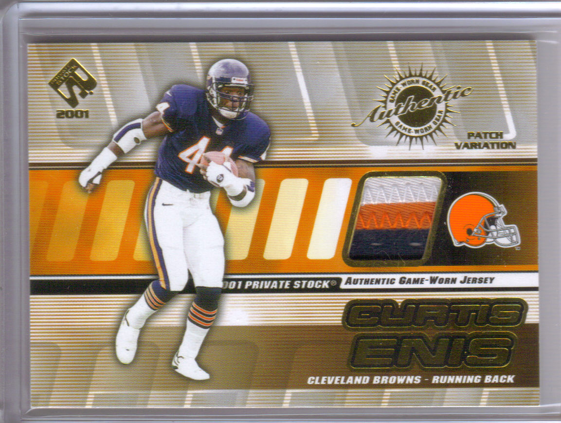 2001 Private Stock Game Worn Gear Patch #37 Curtis Enis/175 front image