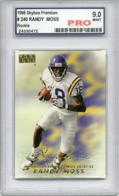 1998 Skybox Premium #240 Randy Moss RC Graded Mint 9