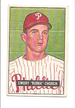 1951 Bowman #149 Bubba Church RC