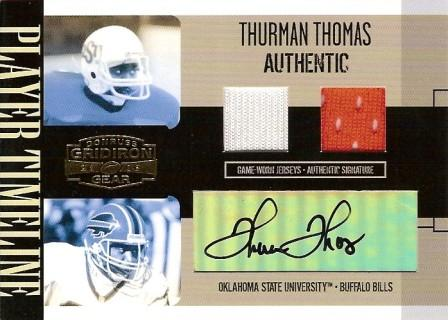 2006 Donruss Gridiron Gear Player Timeline Jerseys Combos Autographs #13 Thurman Thomas/10