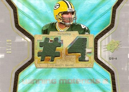 2007 SPx Winning Materials Jersey Number Dual Patch #WMBF1 Brett Favre