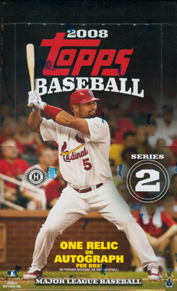 2008 Topps Series 2 ( Two ) Baseball Factory Sealed Hobby Box - 1 Autograph Or Relic Card ( Poss. Alex Rodriguez ) Per Box & Poss. Cut Signatures - In Stock Now  front image