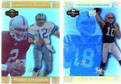 2007 Topps Co-Signers Changing Faces Hologold Red #39B Roger Staubach/JaMarcus Russell