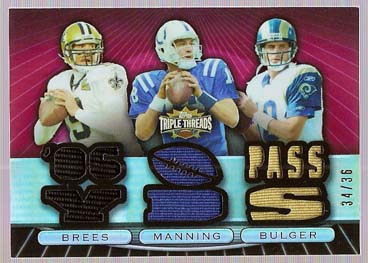 2007 Topps Triple Threads Relic Combos Red #12 Drew Brees/Peyton Manning/Marc Bulger