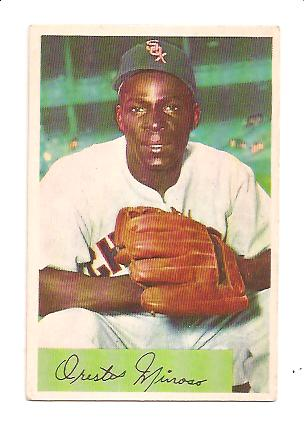 1954 Bowman #38B Minnie Minoso .963/.963 Fielding Avg.