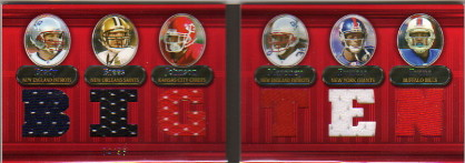 2007 Topps Triple Threads Relic Double Combos Red #8 Tom Brady/Drew Brees/Larry Johnson/Laurence Maroney/Plaxico Burress/Lee Evans