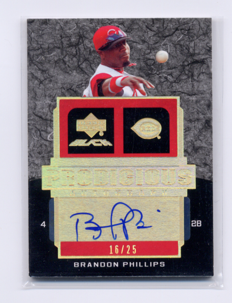 2007 UD Black Prodigious Autographs Gold Spectrum #BP Brandon Phillips
