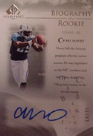 2007 SP Chirography Biography of a Rookie Autographs Silver #BORCH Chris Henry RB