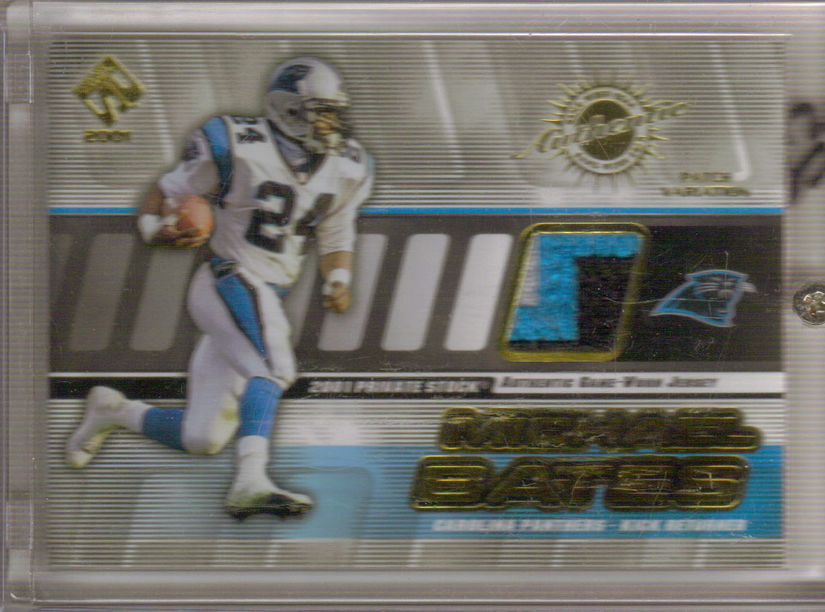2001 Private Stock Game Worn Gear Patch #18 Michael Bates/350 front image