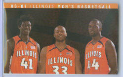 2006-07 Illinois Fighting Illini Men's Basketball Pocket Schedule ~ Warren Carter - Rich McBride - Marcus Arnold