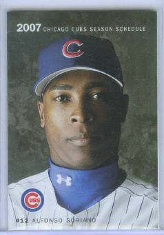 2007 Chicago Cubs Pocket Schedule ~ Alfonso Soriano Cover